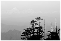 Daxue Shan range seen in the distance. Emei Shan, Sichuan, China ( black and white)