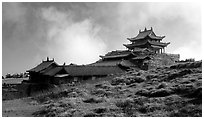 Jinding Si temple, mid-morning. Emei Shan, Sichuan, China ( black and white)