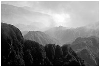 Forest-covered slopes and ridges of Emei Shan. Emei Shan, Sichuan, China ( black and white)