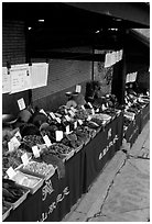 Fungus for sale at a stand near Jieyin Palace. Emei Shan, Sichuan, China ( black and white)