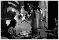 Sichuan opera performers and musicians seen from the backstage. Chengdu, Sichuan, China (black and white)