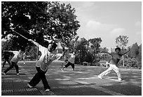 Collective exercise gymnastics with swords,  Liuha Park. Guangzhou, Guangdong, China ( black and white)