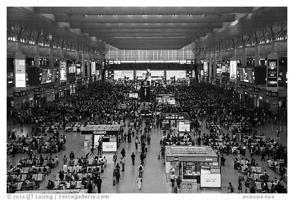 Hongqiao Railway Station main hall. Shanghai, China (black and white)