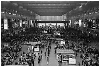 Hongqiao Railway Station main hall. Shanghai, China ( black and white)