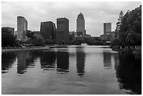 Southern Business District skyline from Yinzhou Park, Ningbo.  ( black and white)