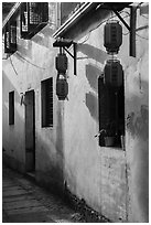 Wall with lanterns. Hongcun Village, Anhui, China ( black and white)