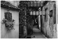 Alley with lanterns and plants. Hongcun Village, Anhui, China ( black and white)