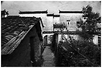 Back street and yard. Hongcun Village, Anhui, China ( black and white)