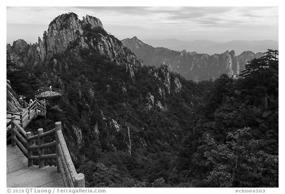 Trail. Huangshan Mountain, China (black and white)