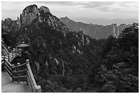 Trail. Huangshan Mountain, China ( black and white)