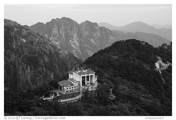 Cable car and station. Huangshan Mountain, China (black and white)
