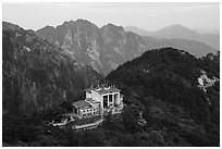 Cable car and station. Huangshan Mountain, China ( black and white)