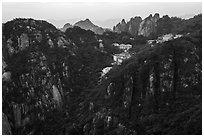 Hotels perched near montaintop. Huangshan Mountain, China ( black and white)