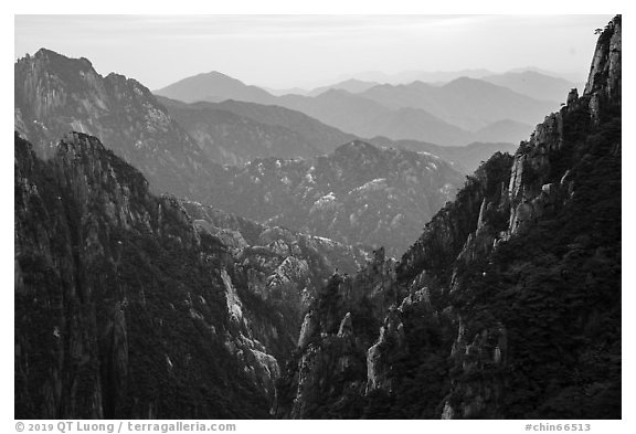 Ridges. Huangshan Mountain, China (black and white)