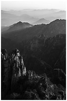 Spires and distant ridges. Huangshan Mountain, China ( black and white)