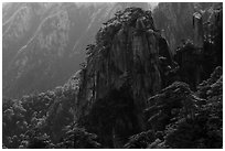 Granite peaks with pines. Huangshan Mountain, China ( black and white)