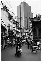 Old street and modern tower. Shanghai, China ( black and white)