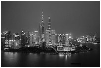 Shanghai skyline at dusk from above. Shanghai, China ( black and white)