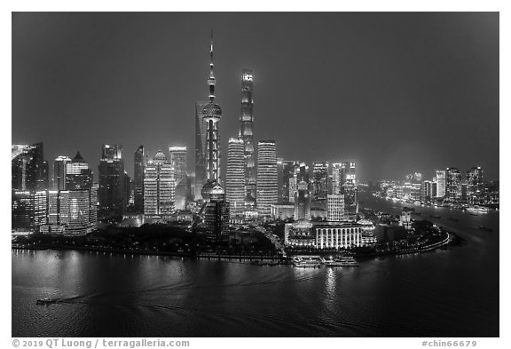 Shanghai skyline at night from above. Shanghai, China (black and white)