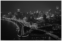 City skyline with illuminated Bund from above. Shanghai, China ( black and white)