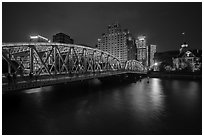 Garden Bridge at night. Shanghai, China ( black and white)