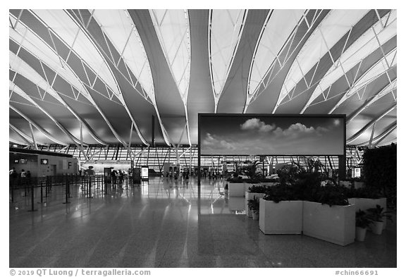 Sky panel in Pudong Airport. Shanghai, China (black and white)