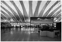 Sky panel in Pudong Airport. Shanghai, China ( black and white)