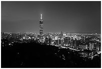 Taipei skyline from above at night. Taipei, Taiwan (black and white)