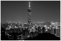 Xinyi district and Taipei 101 at night. Taipei, Taiwan (black and white)