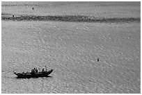 Small boat on Damshui river. Taipei, Taiwan ( black and white)