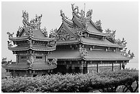 Guandu Temple from the hillside gardens. Taipei, Taiwan ( black and white)