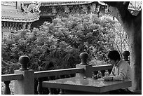Man reading, Guandu Temple. Taipei, Taiwan ( black and white)