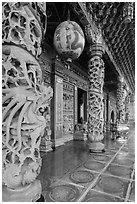 Carved stone pillars, Guandu Temple. Taipei, Taiwan ( black and white)