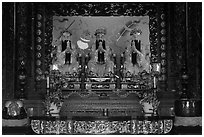 Main altar, Guandu Temple. Taipei, Taiwan ( black and white)