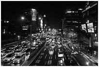 Traffic by night. Taipei, Taiwan (black and white)