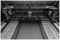 Looking up door of Lingxing gate, Confuscius Temple. Taipei, Taiwan (black and white)
