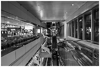 Escalators designed for luggage carts, Taoyuan Airport. Taiwan (black and white)