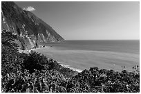 Sea cliffs and turquoise waters. Taroko National Park, Taiwan (black and white)