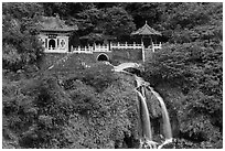 Eternal Spring Shrine and waterfall. Taroko National Park, Taiwan (black and white)
