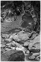 Boulders, marbled walls, and azure stream,. Taroko National Park, Taiwan (black and white)