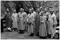 Buddhist monks. Taroko National Park, Taiwan (black and white)