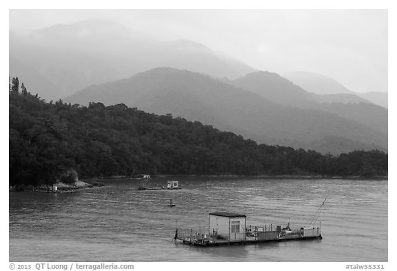Houseboats and misty mountains. Sun Moon Lake, Taiwan