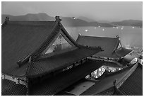 Wen Wu temple at dusk overlooking lake. Sun Moon Lake, Taiwan (black and white)