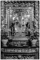 Confuscian figure on altar, Wen Wu temple. Sun Moon Lake, Taiwan (black and white)