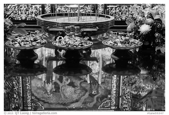 Reflections on altar table top, Wen Wu temple. Sun Moon Lake, Taiwan