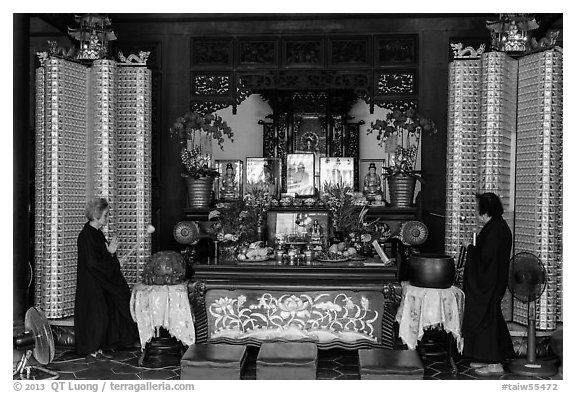 Main hall altar during buddhist service, Longshan Temple. Lukang, Taiwan