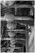 Paper lanterns and woodwork, Longshan Temple. Lukang, Taiwan (black and white)