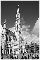 Grand Place and town hall. Brussels, Belgium (black and white)