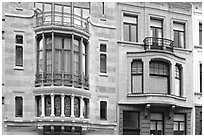 Hotel Tassel, an Art Nouveau townhouse. Brussels, Belgium (black and white)