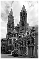 Notre Dame Cathedral, in romanesque style. Tournai, Belgium (black and white)